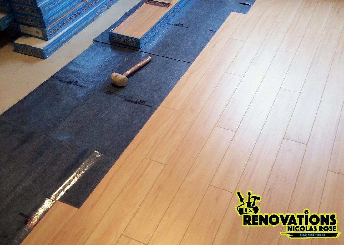installation plancher flottant et en bois franc les r novations nicolas rose. Black Bedroom Furniture Sets. Home Design Ideas